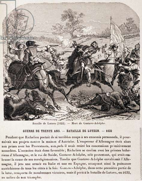 """War of 30 years: Battle of Lutzen (1632) and the death of Gustave Adolphe. - in """"L'Histoire de France en 100 tableaux"""""""", 19th century"""