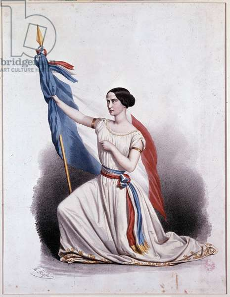 La Marseillaise declassified by Rachel at the Comédie Française - lithography by Alophe, 19th century