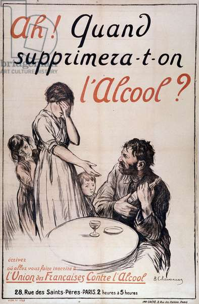 "Alcoholism: ""When will alcohol be removed?"" c. 1910 (lithograph)"