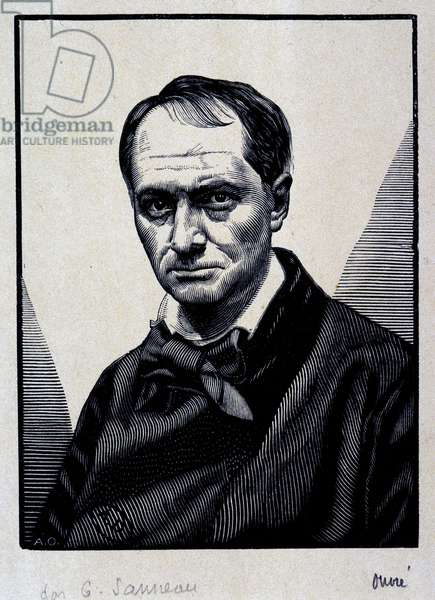 Portrait of Charles Baudelaire (1821 - 1867) - engraving, 19th century