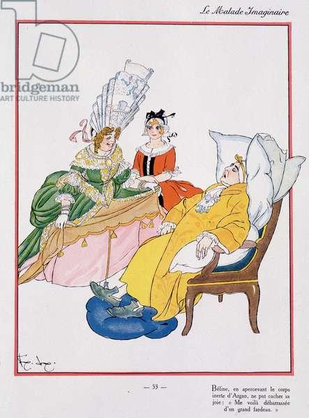 """Scene of Molière's """""""" Imaginary Malad"""", """""""" Béline sees the body of Argan"""" - Illustration by Felix Lorioux (1872-1964), Hachette, Paris, 1928."""