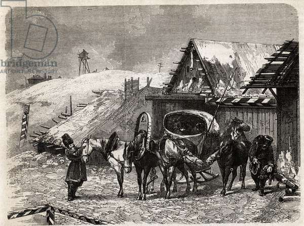 """A Russian relay, in Kiew, drawing by Eve Felinska, to illustrate his memories of exile in Siberia in 1839. Engraving in """""""" Le tour du monde"""""""", edited by Edouard Charton, 1862. Selva's collection."""