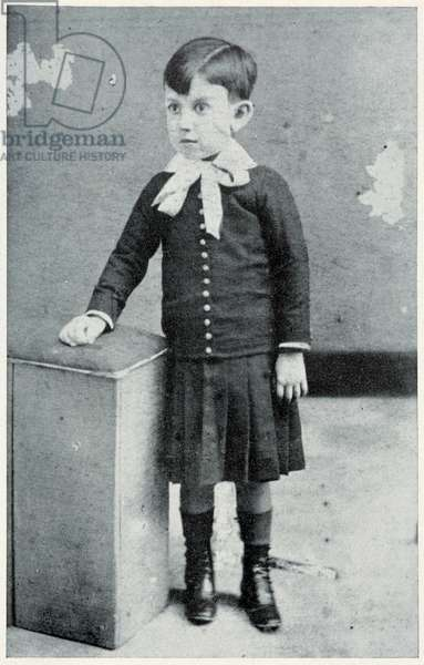 Pablo Picasso, at Four Years of Age, 1885 (b/w photo)