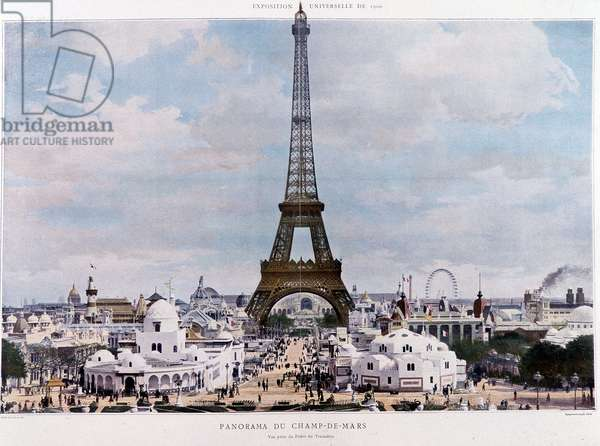 """View of the exhibition of 1900 with Eiffel Tower - in """""""" Figaro illustrated"""""""", 1900¿"""