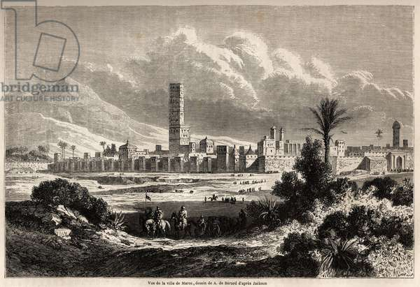 "View of the city of Marrakech (formerly Morocco), drawing by Auguste de Berard (1824-1881), to illustrate Mr.F. Schickler's journey to Morocco in 1860. Engraving in """" Le tour du monde, nouveau journal des voyages"""" Paris, 1860. Selva's collection."