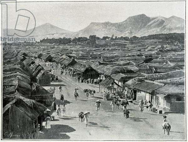 View of the Main street of Seoul, capital city of Korea in the 19th century