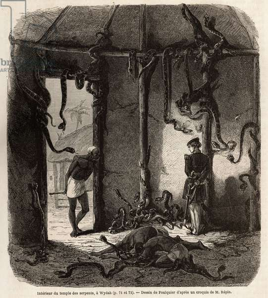 """Inside the temple of fetiches snakes, in Wydah, in Dahomey (present-day Benin), drawing by Jean Antoine Foulquier (1822-1896), to illustrate Dr. Repin's journey to Dahomey in 1860. Engraving in """""""" Le tour du monde"""""""", edited by Edouard Charton, 1863. Selva's collection."""