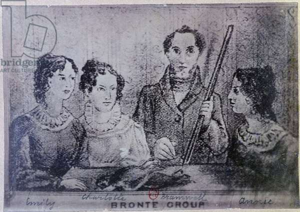 The Brontë sisters and their brother: Emily, Charlotte, Branwell and Anne. Drawing of the 19th century - coll. Larmel, B.N.