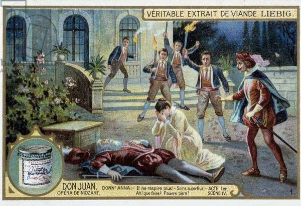 Don Juan: Act I, Scene IV, the death of Donn'Anna's father - chromo Liebig, 19th