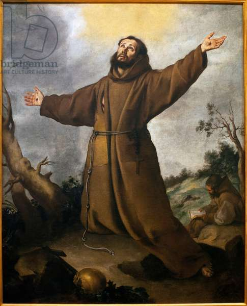 Saint Francois of Assisi (1181-1226) receiving stigmas - Painting by Bartolome Esteban Murillo (1617-1682), Oil On Canvas, circa 1645-1650 - Museum of Fine Arts of Seville, Spain
