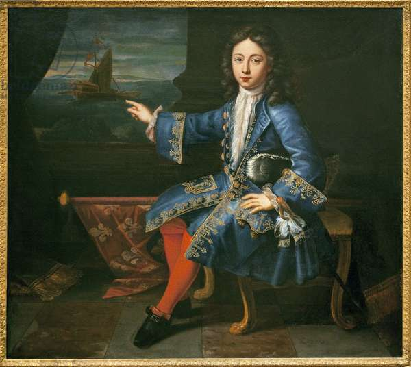 Portrait of the Count of Toulouse (1678-1737). (Recognized son of Louis XIV (1638-1715) and Madame de Montespan (Francoise Athenais, Marquise of Montespan, 1641-1707) represented in his dress as Grand Admiral of France, an office he received in 1683. Painting attributed to Hyacinthe Rigaud (1659-1743), oil on canvas, circa 1690. French art, 17th century. Musee National de la Marine, Paris.