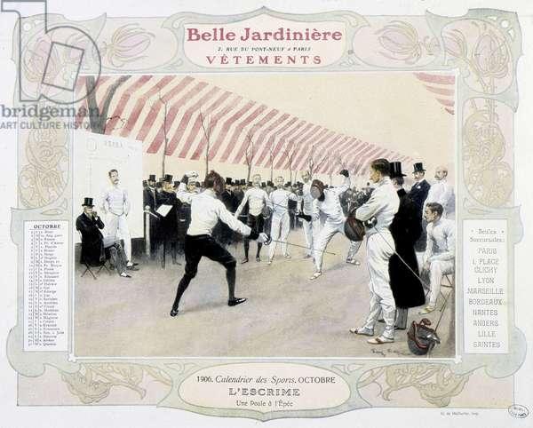 """Fencing - calendar """""""" the Belle Jardinière"""""""", 1906, Carnavalet."""