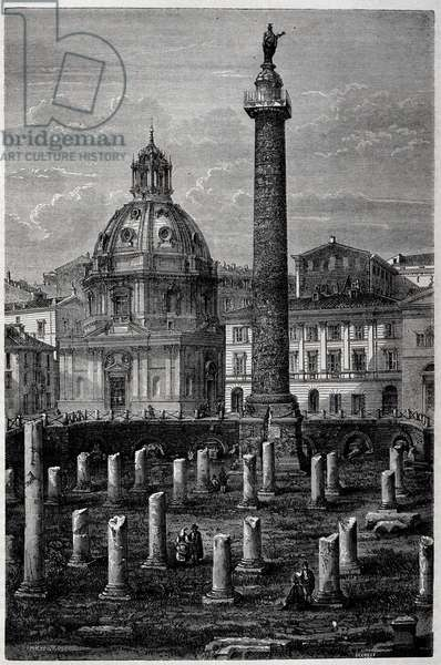 """Square and Column of Trajan (Trajane column) (Colonna Traiana) and Ulpian Basilica (voyage of Francis Wey in 1864-1868) - in """""""" Tour du Monde"""""""" 2nd week 1869"""