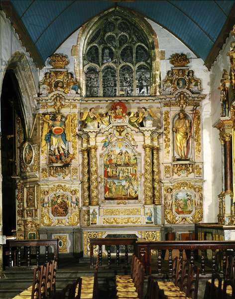Altarpiece of Saint Jean Baptiste, in Lampaul Guimiliau in the finistere (Brittany, France). Baroque art, late 17th century.