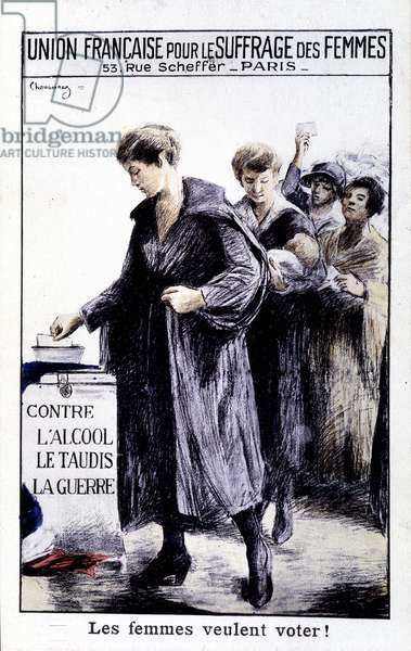 Women want to vote - Poster of the French Union for Women's Suffrage, circa 1920