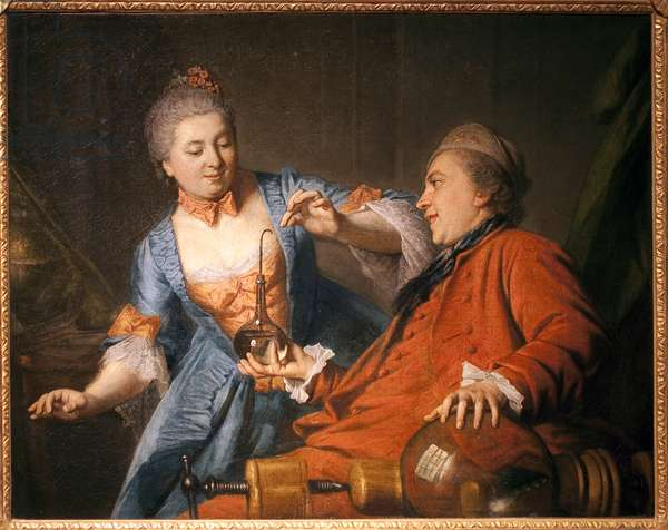 Nicolas Bergeat (1733-1815) and Madame de Maisoncel doing an experiment in physics. Painting of an anonymous remois, oil on canvas, 1770. French Art, 18th century. Musee des Beaux Arts de Reims.