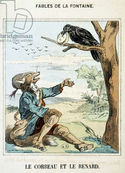 """The raven and the fox - in """""""" Fables"""""""" by La Fontaine, 1776."""