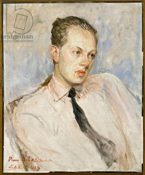 Study for the portrait of Pierre Drieu La Rochelle (1893-1945). Painting by Jacques Emile Blanche (1861-1942), oil on canvas, 1924, 20th century french art. Musee des beaux arts de Rouen.