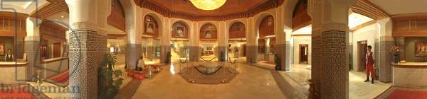 The interior of a hotel in Marrakech, with waiters and musicians. Panoramic 360 degrees by Leonard de Selva, Morocco, 2002.