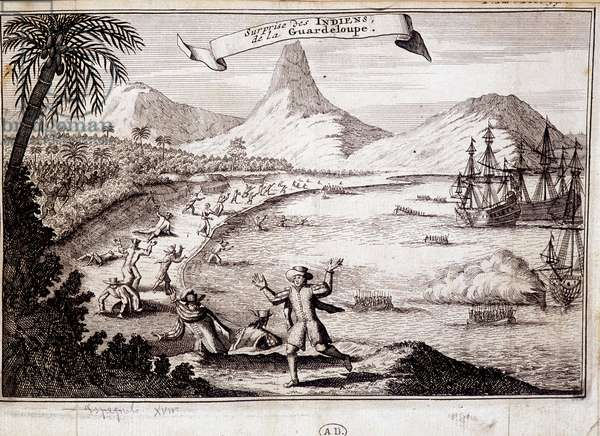 Surprise of the Indians at the landing of Christopher Columbus in Guadeloupe (caravels) - engraving, 17th century.