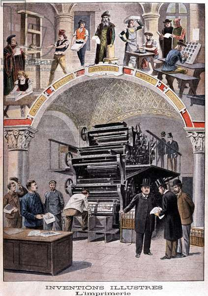 """Invention of the printing press: Gutenberg staging in parallel and rotary press (Marinoni watching the Petity Journal test) - in """""""" Le petit journal"""""""" of 02/06/1901"""