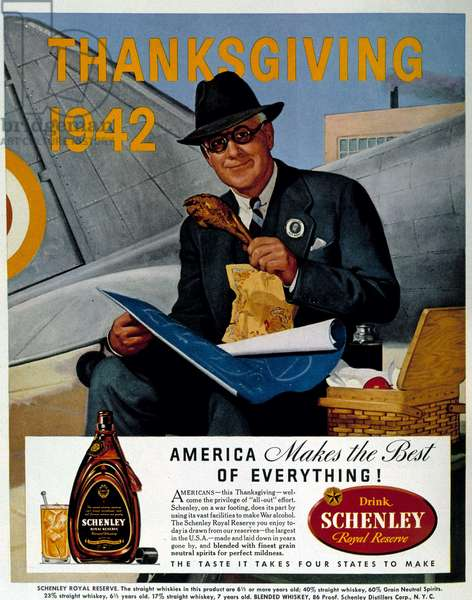 """Man punching in front of a warplane, pub. for Schenley whiskey on the occasion of thanksgiving 1942, """""""" Fortune"""""""" 12/1942."""