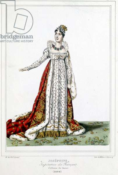 """Josephine (1763-1814) in a sacred costume, 1804 - in """""""" Collection of costumes, weapons and furniture to serve the history of the French revolution and the Empire"""" by Horace de Viel-Castel n.d., 19th century"""