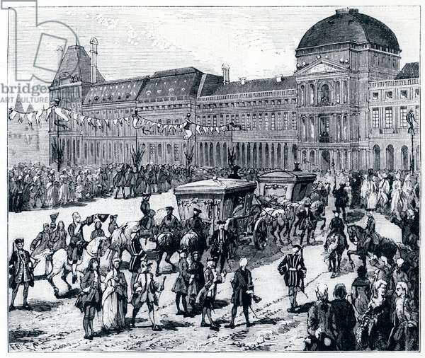"""Life under Louis XV: the king arriving at the Palais des Tuileries, where the queen and the dolphine await him - in """"Paris through the centuries"""" by Gerouillac, 18th century"""