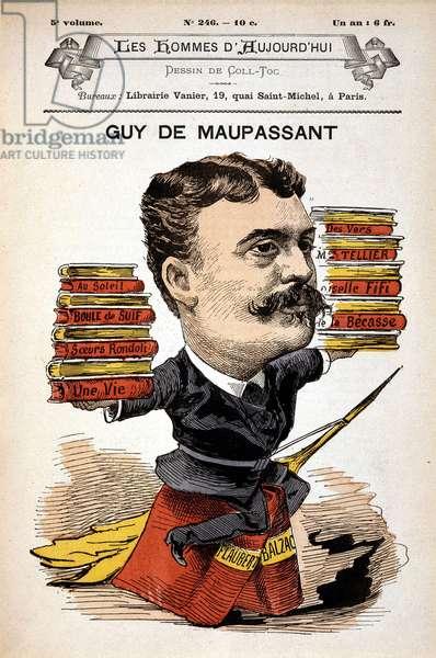 "Portrait of Guy de Maupassant - by Gill, in """" Les Hommes d'aujourd'hui"""", 19th century"