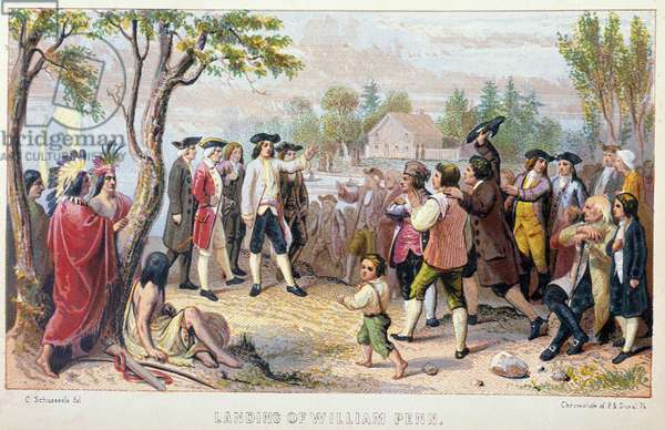"""Landing of William (Guillaume) Penn (1644-1718), founder of the Province of Pennsylvania - in """"The Iris: an illuminated souvenir for 1802"""""""" drawn by Captain Eastman and John S Hart, 1852"""