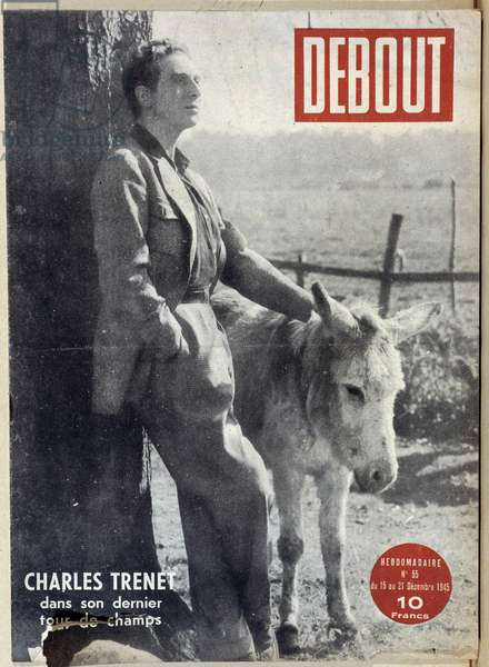 "Charles Trenet and a donkey - in """" Standing"", Dec. 1945."