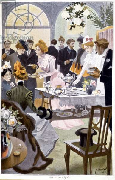 Reception for tea - drawing by Bac, 1898