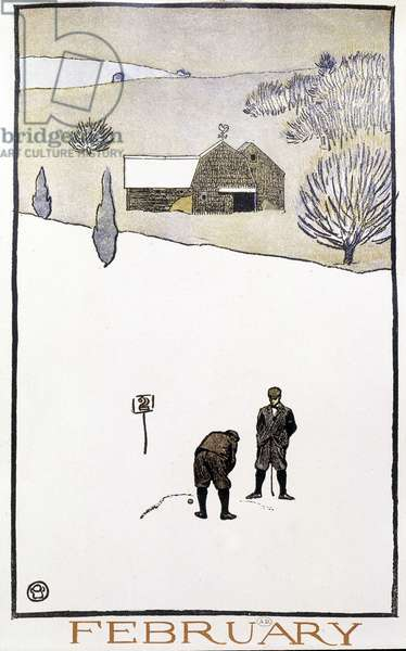 "Golf in the Snow - in """" Golf Calendar"""" by Edward Penfield, 1899"