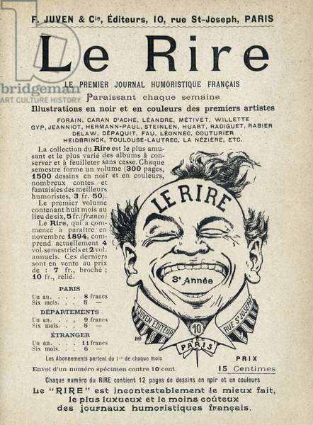 """Le Rire, the first French comedy newspaper. Publication in """"Tales de Pantruche et d'ailleurs"""" by Tristan Bernard, Petite Collection du """""""" Rire"""", F. Juven & Compagnie, Paris, 1897."""