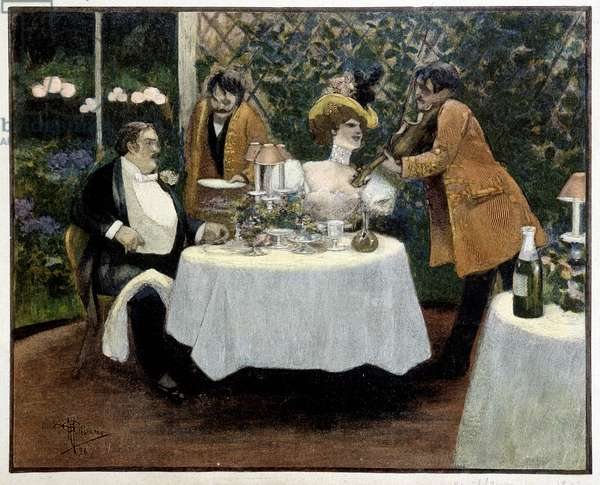 Restaurant, drawing by Guillaume, 1896.