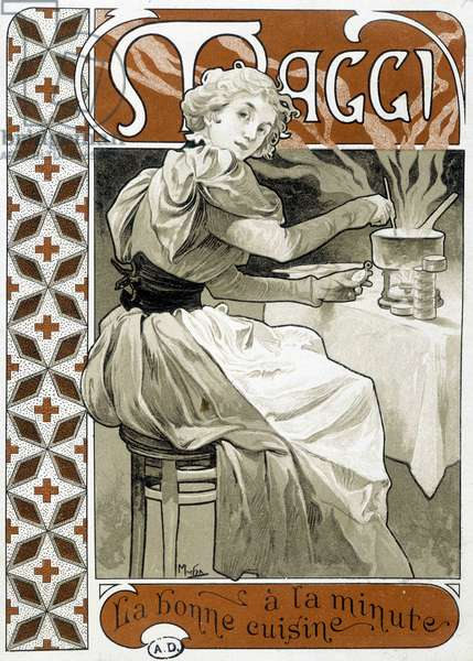 """Young woman cooking on a gas stove - advertisement Maggi """""""" good food by the minute"""""""", by Mucha, circa 1890."""