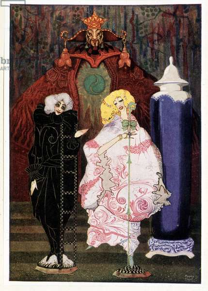 """Have you really courage to go into the wide world with me? : Shepherdess & chimney sweeper - in """""""" Fairy Tales"""""""" by Hans Christian Andersen, ill. by Harry Clarke"""