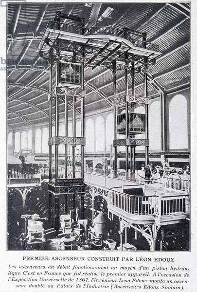 First elevator built by Léon Edoux at the 1867 universal exhibition