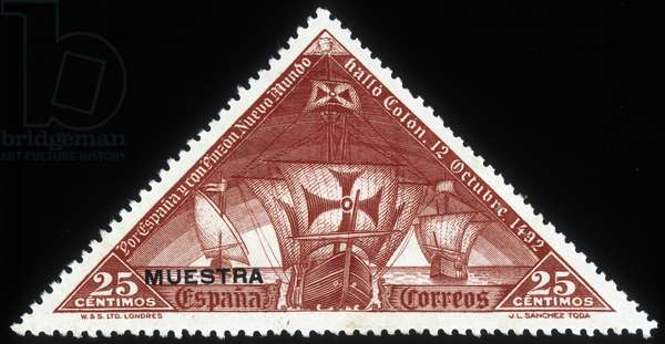 Spanish stamp on Christopher Columbus's caravels