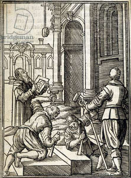 Stone cuters working on the construction of a cathedral - engraving, 16th century