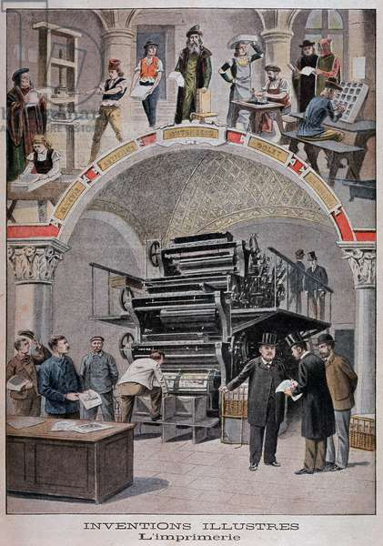 """Invention of the printing press: parallel Gutenberg and rotary press (Marinoni watching the Petity Journal) - in """""""" Le petit journal"""""""" of 02/06/1901"""