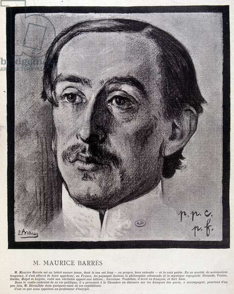 """Maurice Barrès by Braun - in """""""" L'Plate au Butter"""""""" from 31/05/1902. Careful! Use of this work may be subject to a third party authorization request or additional fees"""
