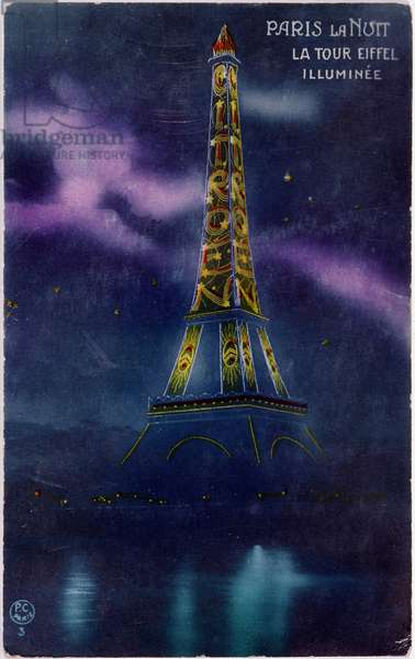 """The Eiffel Tower illuminated with the letters """""""" Citroen"""""""" - postcard, circa 1925"""