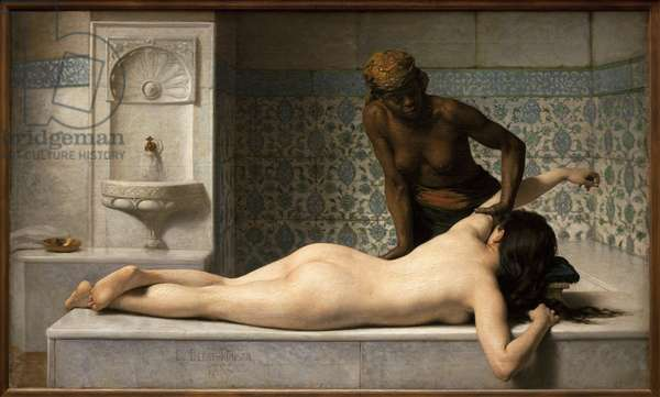 The massage. Painting by Edouard Debat Ponsan (1847-1913), Oil On Canvas, 1883. 19th century French Art. Musee des Beaux Arts de Toulouse.