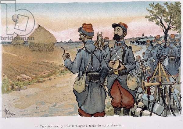 "Aerostation militaire - in """" Album militaire"""" by Albert Guillaume (1873-1942), ca. 1900"