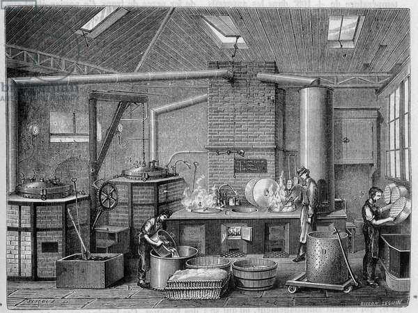 "Laboratory for cooking canned food - in """" The wonders of the industry"""" by Louis Figuier, 19th century"