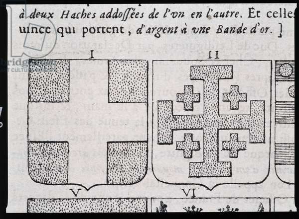 """Armes de Montmorency et Godefroy de Bouillon - in """""""" The vraye and perfect science of the coat of arms or the index of arms"""""""" by Pierre Paillot, 1660"""