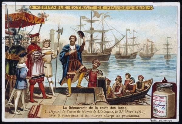 The discovery of the route to the Indies: Departure from Vasco de Gama from Lisbon, March 25, 1497, with 3 ships and a ship loaded with supplies - advertising sticker Liébig