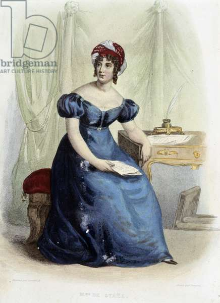 "Portrait of Germaine Necker, Baroness of Stael Holstein (Stael-Holstein) dit Madame de Stael (1766-1817) - in """" Le Plutarque Français"""", ed. Mennechet, 1844"
