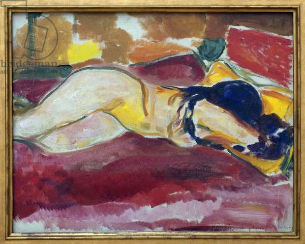 Nude diaper. Painting by Edvard Munch (1863-1944), Oil On Canvas, 1912-1913. Norwegian art, 20th century, expressionism. Kunsthalle Hamburg (Germany).